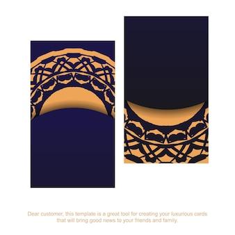 Visitekaartje ontwerp in blauw met luxe ornamenten. vector visitekaartjes met plaats voor uw tekst en vintage patronen.