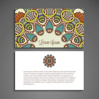 Visitekaartje vector achtergrond in etnische stijl