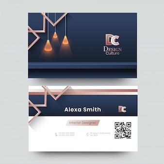 Visitekaartje voor decorateur, ontwerper, architect met creatief ontwerp