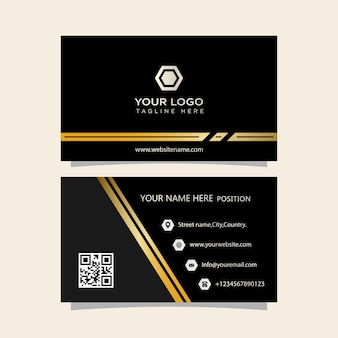 Visitekaartje zwart en goud