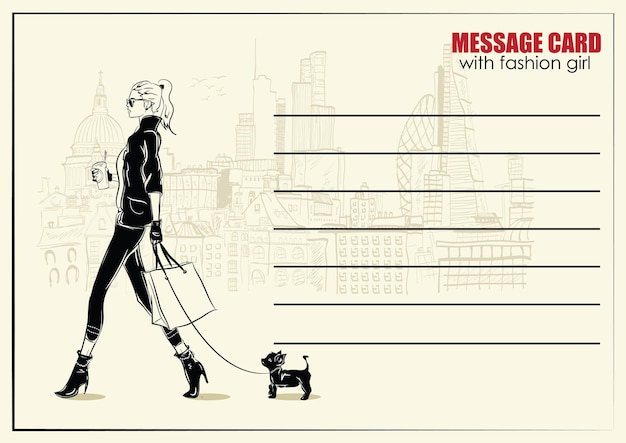 Visitekaartjes met mode vrouw. mode illustratie