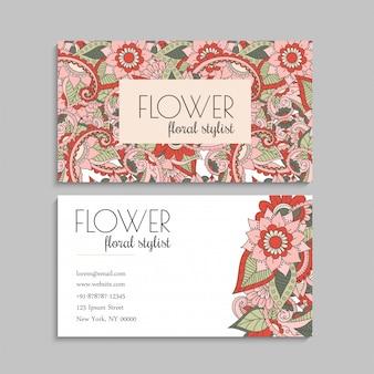 Visitekaartjes sjabloon hand getrokken bloemen