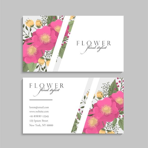 Visitekaartjes sjabloon hete roze bloemen. voor en achter