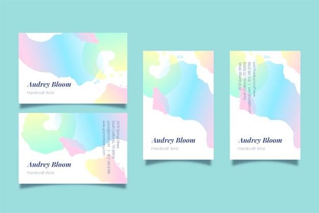 Visitekaartjes sjabloon met abstracte pastel vlekken