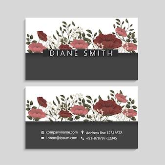 Visitekaartjes sjabloon rood en bloemen