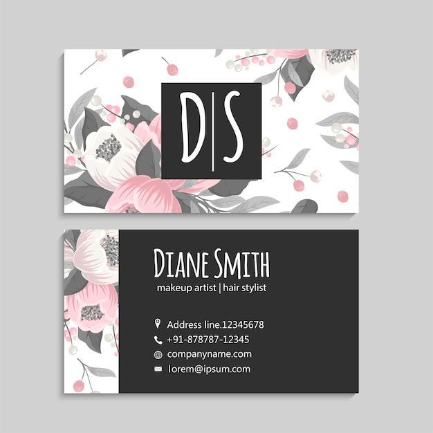 Visitekaartjes sjabloon roze bloemen. voor en achter