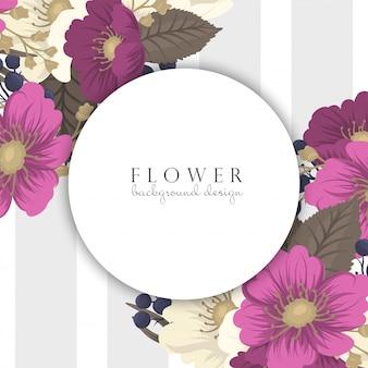 Visitekaartjes sjabloon roze hand getrokken bloemen