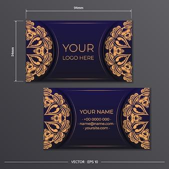 Visitekaartjesontwerp in blauw met luxe patronen. stijlvolle visitekaartjes met een plek voor uw tekst en vintage ornamenten.