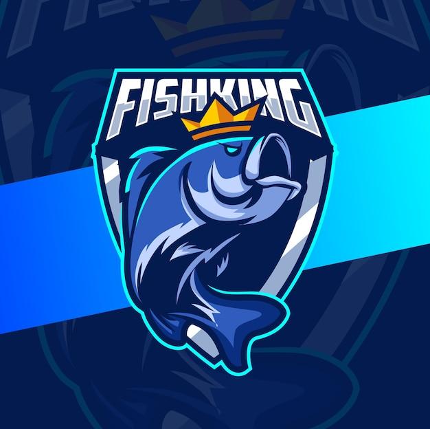 Viskoning vissen mascotte esport logo ontwerp