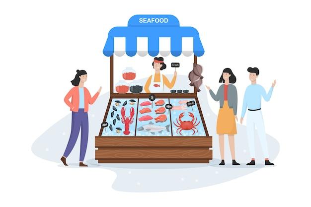Vismarkt concept. zeevruchten in ijs. zalm en tonijn