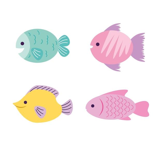 Vissen cartoon geïsoleerd op witte achtergrond