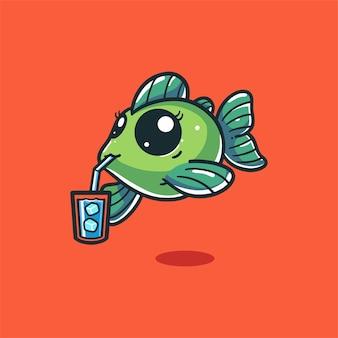 Vissen drinken ijskoud water