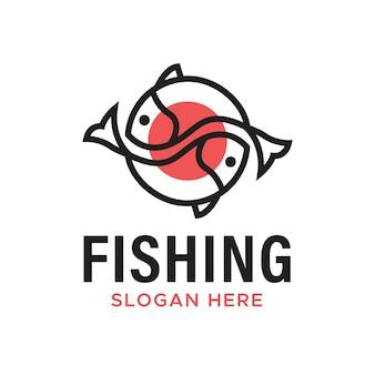 Vissen en sushi japans traditioneel eten logo-ontwerp