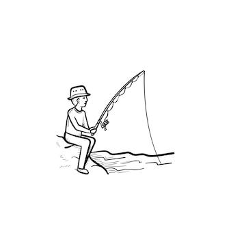 Vissen hand getrokken schets doodle pictogram. man vissen met hengel vector schets illustratie voor print, web, mobiel en infographics geïsoleerd op een witte achtergrond.