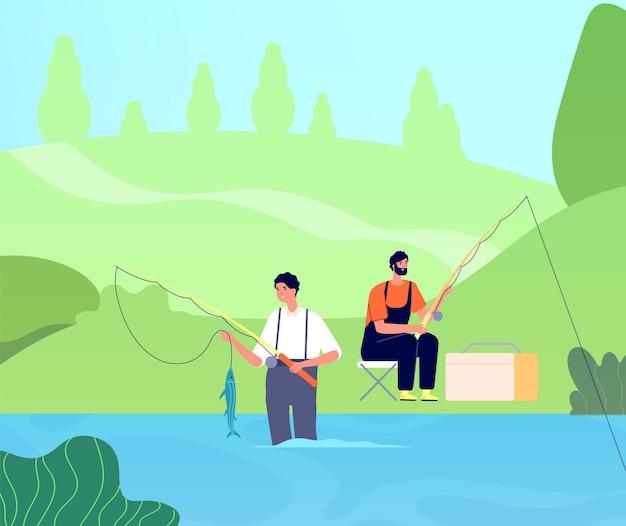 Vissen op de rivier. visser vangt vissen, man met hengel in meer. vriendenrecreatie, mannelijke openluchtrecreatie. mensen ontspannen vectorillustratie. recreatie hobby vissen, activiteit vrije tijd weekend
