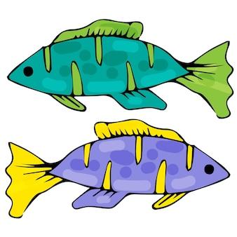 Vissen op een afgelegen witte achtergrond groene en paarse vis
