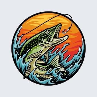 Vissen op zalm met hengel