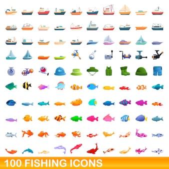 Vissen pictogrammen instellen. cartoon illustratie van visserij pictogrammen instellen op witte achtergrond