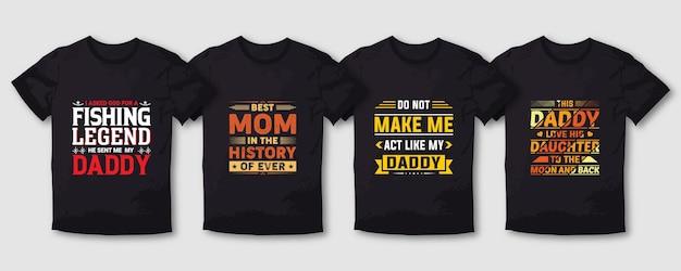 Vissen vader moeder moeder typografie t-shirt ontwerpset