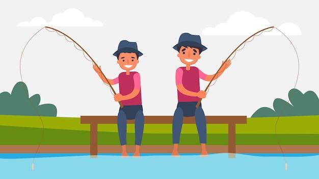 Vissen vader zoon activiteiten perfect family bonding brengen samen tijd door. kinderen zijn essentieel voor hun groei en ontwikkeling en voor het type mens. illustratie in platte cartoon stijl.