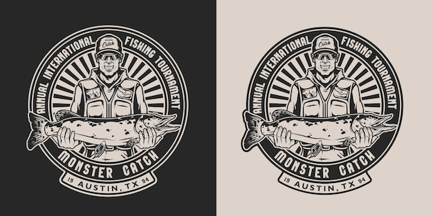 Vissen vintage zwart-wit badge met inscripties en lachende visser met snoek