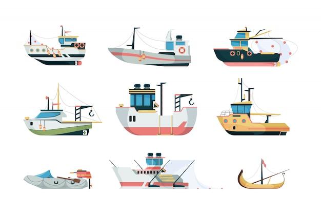 Vissend schip. zeevervoer over zee of over de oceaan met verschillende platte foto's van vissersboten