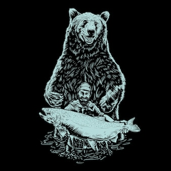 Vissende man met beer illustratie