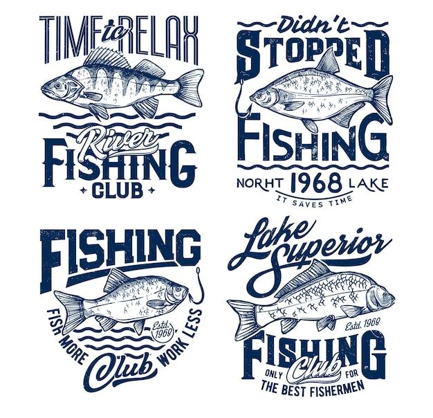 Vissende t-shirtprints met vissen, oceaanvissersclubt-shirt