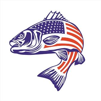 Vissenillustratie met amerikaanse vlag