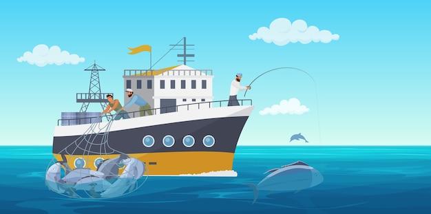 Visser die viszeevruchten, vissersmensen in het landschap van de vissersbootboot vangt