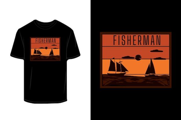 Visser retro silhouet t-shirt ontwerp