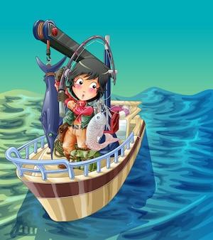 Visser vist op zijn schip met zee achtergrond.