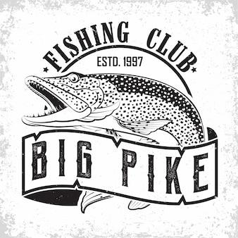 Visserij club vintage logo ontwerp