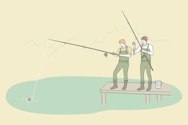 Visserij en recreatie sport recreatie concept. twee jonge mannenvrienden in de karakters van het laarzenbeeldverhaal die samen bij de rivier vissen