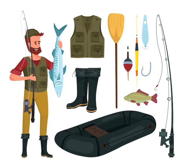 Visserij instellen cartoon. hengel, vest, roeispaan, aas, laarzen, drijvers, haak, vis, opblaasboot, visser.