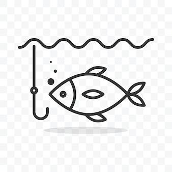 Visserij pictogram vis in water en vishaak vectorillustratie op transparante achtergrond.