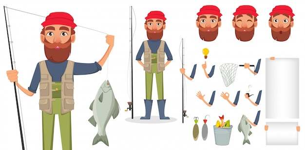 Vissers met hengel en vissen
