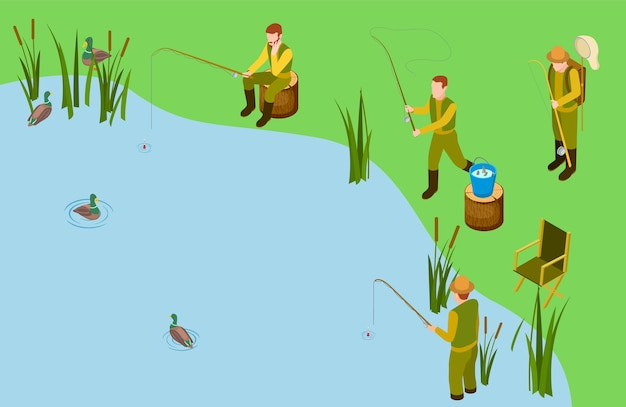 Vissers op het meer
