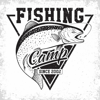 Vissersclub vintage logo, embleem van de forelvissers, grange print stempels, vissers typografie embleem,