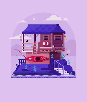 Vissershuis op rots door rivieroever. houten pier huis op meer vintage print.