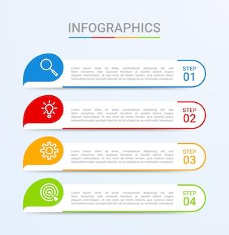Visualisatie van bedrijfsgegevens, infographic sjabloon met 4 stappen op blauwe achtergrond