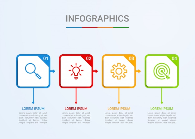 Visualisatie van bedrijfsgegevens, infographic sjabloon met 4 stappen