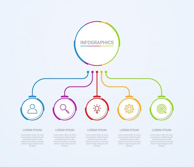 Visualisatie van bedrijfsgegevens, infographic sjabloon met 5 stappen