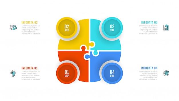 Visualisatie van bedrijfsgegevens. infographics met 4 opties.
