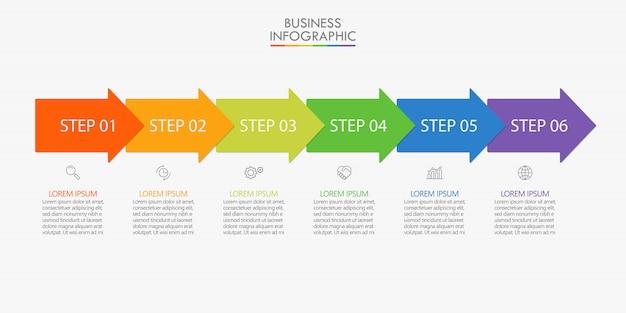 Visualisatie van bedrijfsgegevens. tijdlijn infographic pictogrammen ontworpen voor abstracte sjabloon