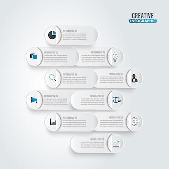 Visualisatie van bedrijfsgegevens. verwerk papieren kaart. abstracte elementen van grafiek, diagram met 10 stappen.