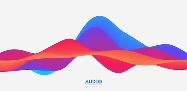 Visualisatie van geluidsgolven. 3d kleurrijke solide golfvorm.
