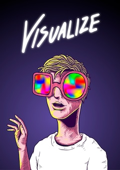 Visualiseer word illustratie drawing concept
