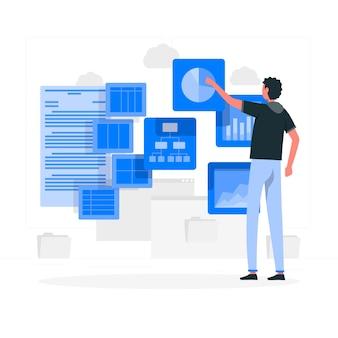 Visuele gegevens concept illustratie