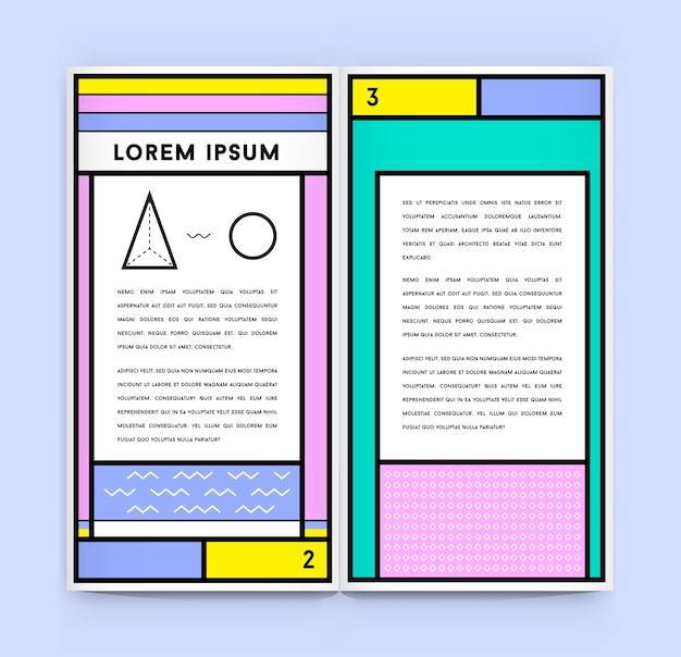 Visuele identiteit in trendy nieuwe dikke lijnstijl geometrisch in retrostijl met frisse oldschool-kleuren met fictieve namen en tekst